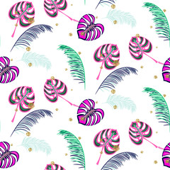Tapeta Monstera pink tropic plant leaves seamless pattern. Exotic nature pattern for fabric, wallpaper or apparel.