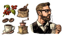 Hipster Barista Holding A Cup ...