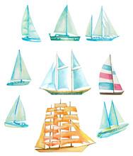 Set Of Watercolor Sailing Boat...