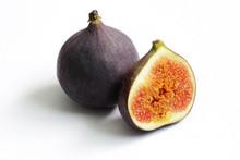 Fresh Figs Isolated On White Beautiful Food Background