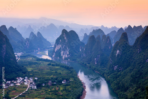Xingping and the Li River at Sunrise from Xianggong Mountain, People's Republic Poster