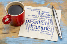 Passive Income Word Cloud On A Napkin