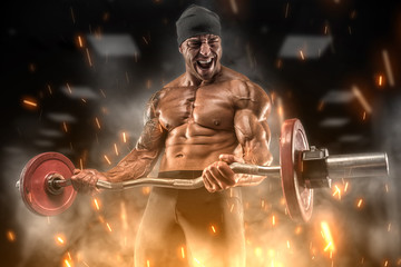 Angry athlete trains in the gym