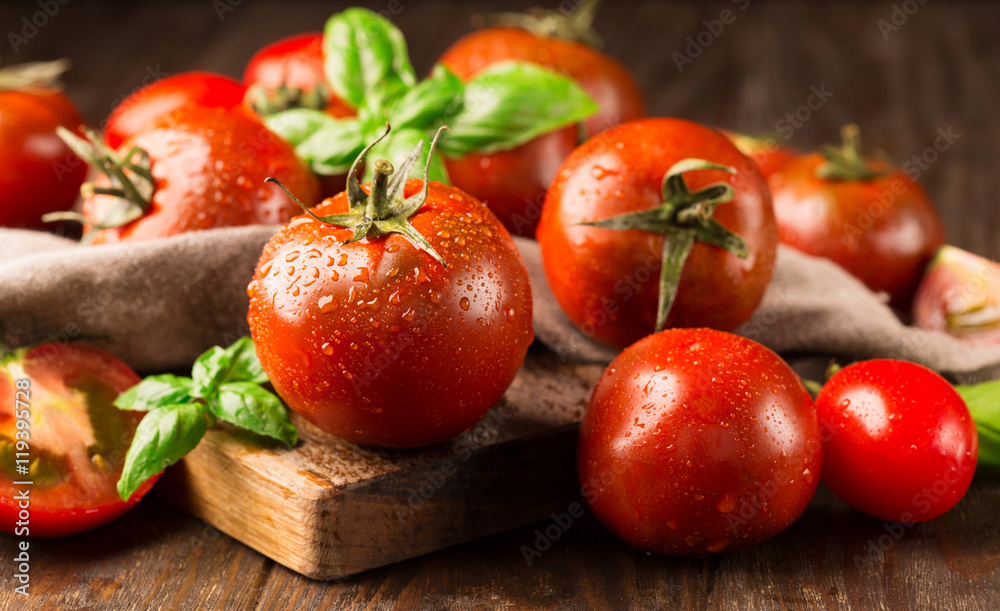 Fototapety, obrazy: Fresh ripe organic tomatoes on old rustic background, selective focus