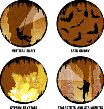 Set Of Vector Illustrations Of Cave With Stalactites And Stalagmites, Girl Caver And Bats
