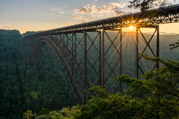 Panel Szklany Industrialny Sunset at the New River Gorge Bridge in West Virginia