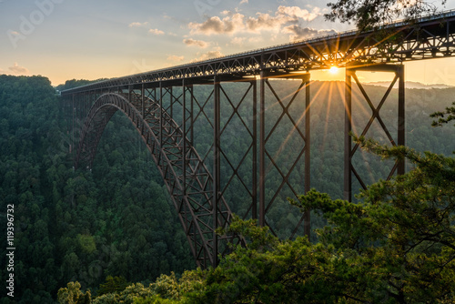 Fotobehang Brug Sunset at the New River Gorge Bridge in West Virginia