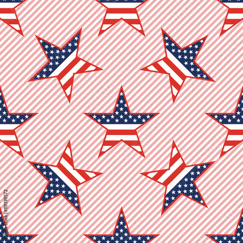 US patriotic stars seamless pattern on red stripes background. American patriotic wallpaper with US patriotic stars. Tiling pattern vector illustration.