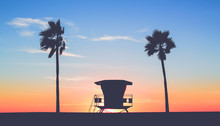 Vintage Beach Photo With Palm Trees At Sunset