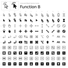 Line And Black Vector Icons - Function B