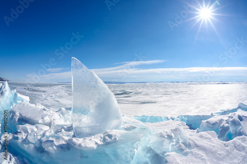 Garden Poster Pole Ice floe and sun on winter Baikal lake