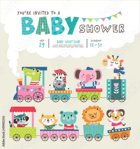 Baby shower invitation card with cute animals on train buy this baby shower invitation card with cute animals on train filmwisefo