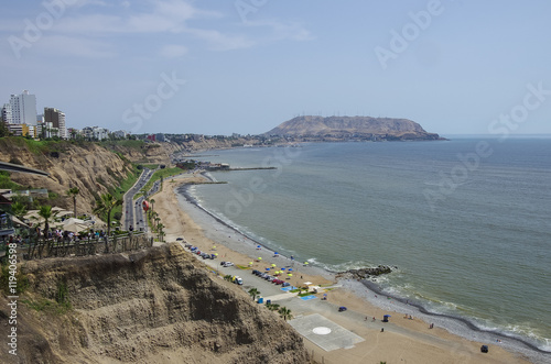 City on the water Beautiful view of Lima coastline from Larcomar in Miraflores district, Lima, Peru