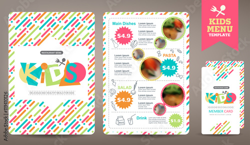 Photo  Cute colorful kids meal menu vector template