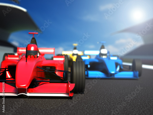 Keuken foto achterwand F1 Race cars racing on the track. 3D illustration