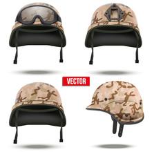 Set Of Military Tactical Helmets Desert Color