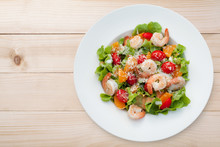 Grilled Shrimp Salad On Wood Table, Top View