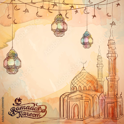 Deurstickers Vogels in kooien Mosque and arabic lantern watercolor and ink sketch for Ramadan Kareem background