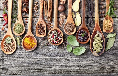 Wall Murals Spices Herbs with spices on a wooden background