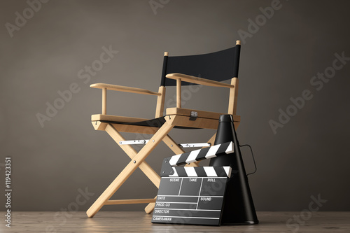 Director Chair, Movie Clapper and Megaphone. 3d Rendering Wallpaper Mural