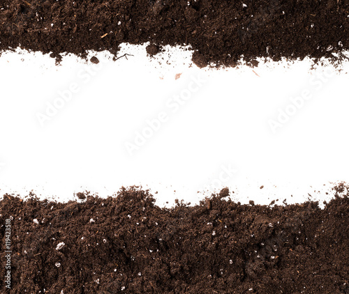 Soil or dirt section isolated on white background Wall mural