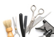 Vintage tools of barber shop on white background
