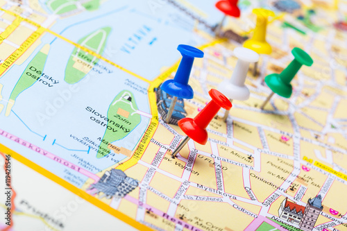 Poster Las Vegas Travel destination points on a map indicated with colorful thumbtacks