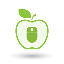 Isolated  Line Art  Apple Icon With A Wireless Mouse