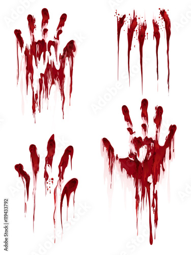 Carta da parati Bloody hand print isolated on white background