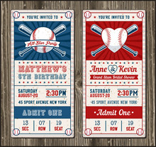 Vector Vertical Baseball Invitation