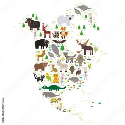 Türaufkleber Weltkarte bison bat manatee fox elk horse wolf partridge fur seal Polar bear Pit viper snake Mountain goat raccoon Eagle skunk parakeet Jaguar hare narwhal elk Grizzly gannet Muskox turtle alligator. Vector