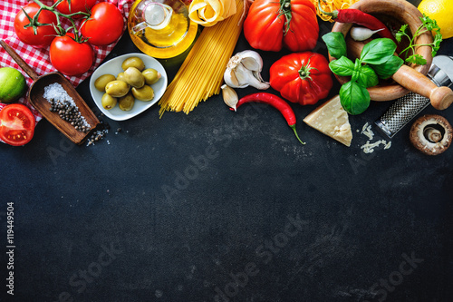 Valokuva Italian food ingredients on slate background