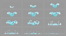 Dripping Water Special Effect Fx Animation Frames Sprite Sheet. Clear Water Drop Burst Frames For Flash Animation In Games, Video And Cartoon.