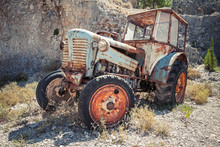 Old Abandoned Rusted Tractor S...
