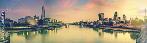 Foto op Canvas Londen London panoramic toned picture from Tower Bridge