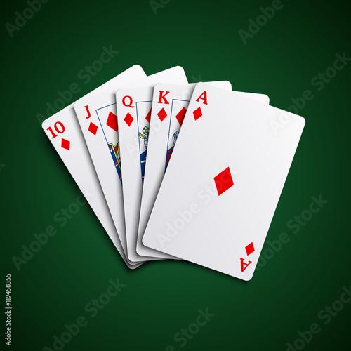 Fotografia, Obraz  Poker cards flush diamonds hand