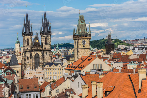 Aerial view: Traditional red roofed Houses in Prague. Czech Rep. Canvas Print
