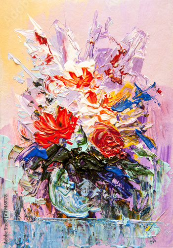Oil painting flowers - 119469178
