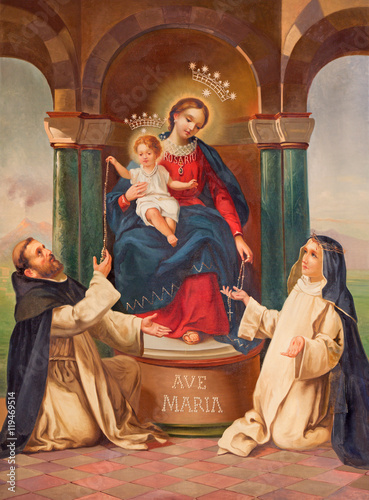 BRESCIA, ITALY - MAY 21, 2016: The painting of Madonna with the carmelitans St Poster