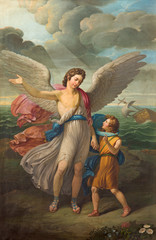 FototapetaBRESCIA, ITALY - MAY 21, 2016: The painting of Archangel Raphael and Tobias in church Chiesa di San Zeno al Foro by unknown artist of 19. cent.