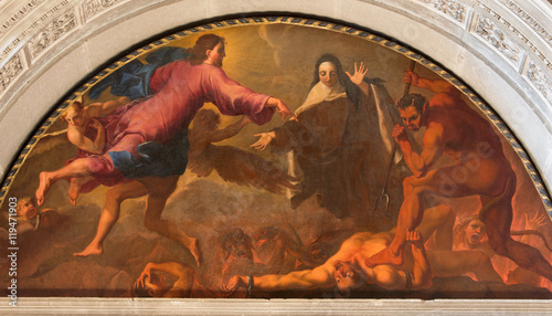 BRESCIA, ITALY - MAY 22, 2016: The painting St. Theresa of Avila's vision of hell in Chiesa di San Pietro in Olvieto by Giuseppe Tortelli (1696).