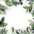 Leinwanddruck Bild - frame with flowers, branches, leaves and petals isolated on white background. flat lay, overhead view