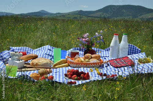 Poster Picnic Close up of picnic with a delicious spread of fresh fruit, pastry, cheese on a plaid tablecloth with hills in background