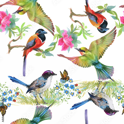 Cotton fabric Watercolor hand drawn seamless pattern with tropical summer flowers and exotic birds