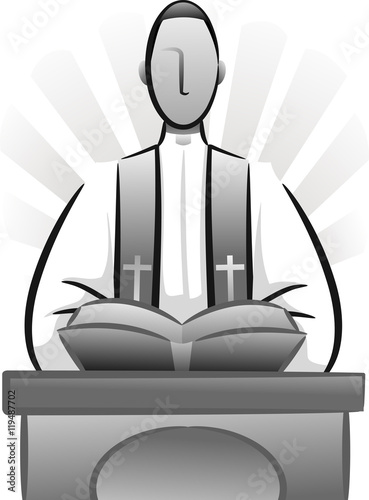 Fotografie, Obraz  Priest Bible Sermon