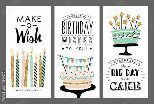 Set of birthday greeting cards design Poster