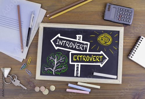 Fototapeta Introvert - Extrovert signpost drawn on a blackboard
