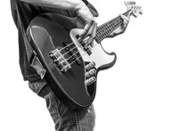 Bass Player, BW Filter   Isolated On White