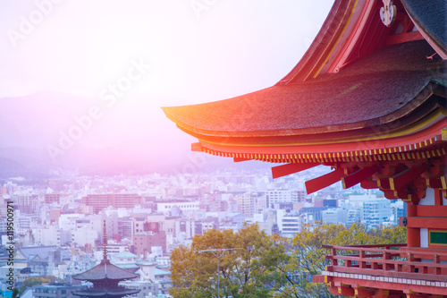 Papiers peints Kyoto Taisan-ji Japanese Temple with Cityscape of Kyoto in the morning, Japan.