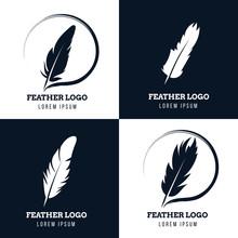 Feather, Elegant Pen, Law Firm, Lawyer, Writer Literary Vector Logos Set